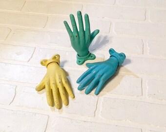 Hand Hook/Curtain Tieback/Wall Hook/Hand Decor/Towel Hook/Coat Hook/Curtain Holdback/Nursery Decor/Rustic/Key Holder/Hook/Vintage