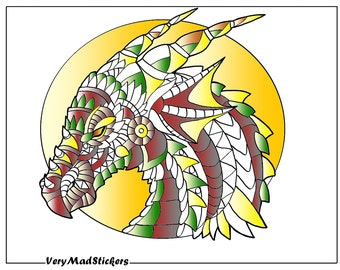 Dragons Head Adult Colouring Page