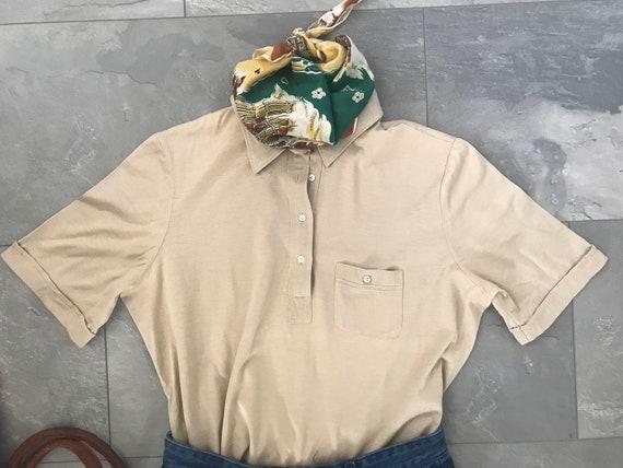 Vintage Lady van Laack polo shirt | Beige tee | cotton t-shirt | designer | Royal | top