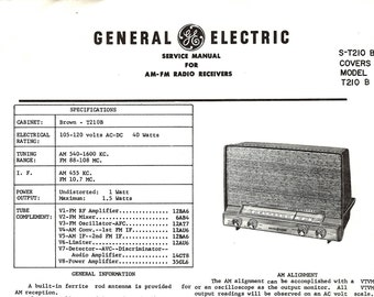 General Electric Vintage Radio Service Manual Excellent Condition 1960 Download PDF Model T210B AM-FM Radio Receivers