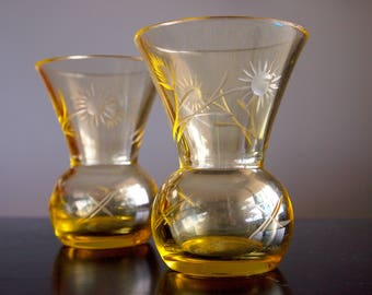 Pair of Vintage Yellow Etched Glass Mini Vases
