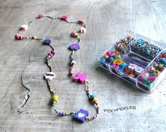 Necklace wooden colorful kids kit