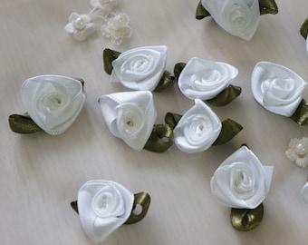 "7/8"" white Satin Ribbon Flower Appliques -36pcs"
