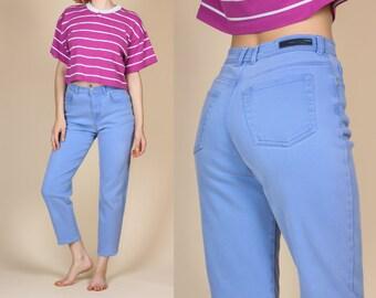 90s Periwinkle High Waisted Mom Jeans - 8 Short, Small to Medium | Vintage Gloria Vanderbilt Denim Tapered Leg Pants