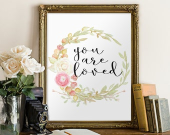 You are loved print, Nursery decor, Bible Verse, Printable verses,  Scripture art, Inspirational quote Nursery wall art Nursery poster BD554