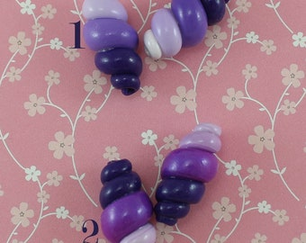 Beads for Jewelry making spring shape unique Ombre bracelet beads polymer clay beads purple and white DIY gift beads spirals jewelry beads