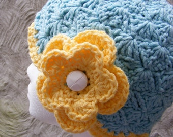 Chemo Hat Crochet Pattern - Ladies Cloche Hat with Pretty Ruffles and Flower - Close Fitting - Quick and Easy