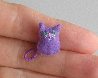 Purple Cat micro miniature felt stuffed animal plush toy