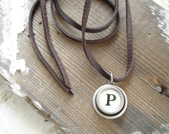 Typewriter Key Jewelry. Letter P Necklace. Vintage Typewriter Key Necklace. Personalized Initial. Adjustable Leather Necklace. Unisex Gift.