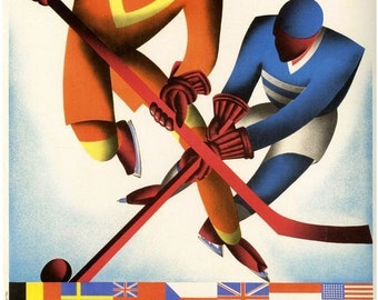 Vintage 1931 Ice Hockey Tournament Poster A3/A2 Print