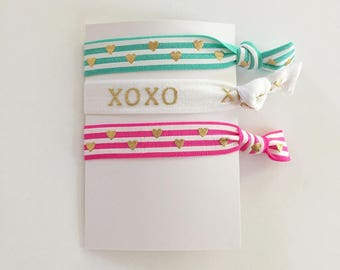 no crease elastic tie hairbands -- striped hearts in marine parents inspired colors