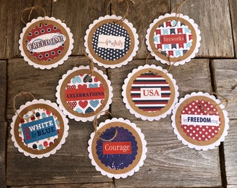 AGD Patriotic Decor - July 4th Sentiment Words Paper Ornaments 8pc
