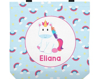 Unicorn Tote Bag - Personalized bag - Rainbows - Three Sizes to Choose From - Great for library, dance, music lessons, and more!