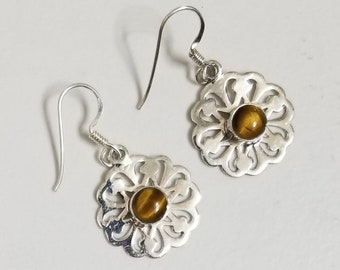 925 Sterling Silver Tiger's Eye Earrings