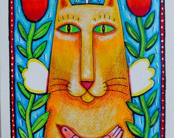 Angel Kitty - Original Cat  Folk Art Painting, Acrylic on Paper,  Orange Cat with Tulips & Pink Bird, Whimiscal Wall Art, Cat Lover Gift