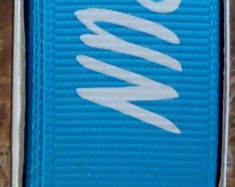"2 Yards 7/8"" Turquoise with White ""RUN"" Print Grosgrain Ribbon - Marathon - Track - School - US Designer"