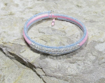 Pink Girls Bracelet - blue Wrap bracelet - Children's Jewelry - Memory wire bracelet - Kids bracelet