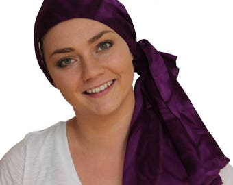 Jessica Pre-Tied Head Scarf, A Women's Cancer Headwear, Chemo Scarf, Alopecia Hat, Head Wrap, Head Cover for Hair Loss - Purple Watercolor -