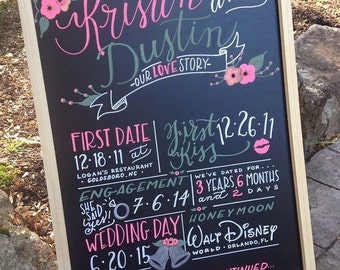 Hand-Painted Engagement Wedding About Us Chalkboard  - Framed Style