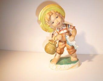 Fisherman Collectible Kid With Fish Vintage Kitschy Kid Figure Girl With Fish Boy With Fish