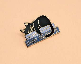 Literary Kitty Enamel Pin | Hard Enamel, Enamel Pin, Lapel Pin, Flair, Black Cat Pin, Book Pin, Gifts for Librarian, Gifts for Readers