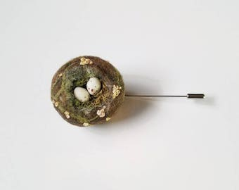 Made To Order Bird's Nest Brooch Stickpin Pin Flower Bud Vines - Bird Nest Pin Brooch Needle Felted Embroidered Wool