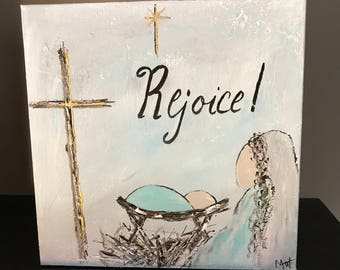 Rejoice Manger Cross 8x8 Acrylic Painting gallery wrapped canvas
