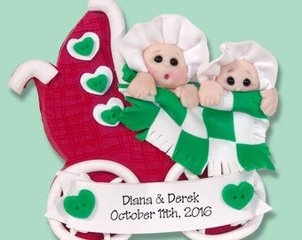TWINS 1st Christmas Personalized Baby Ornament - HANDMADE Polymer Clay Ornament - Limited Edition