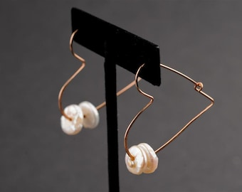 On Sale:  20% off. Heart Earrings, Hoop, GF Wire,2 White Pearls, Lentil-Shaped, Romantic, Unconventional , Under 50, Valentines