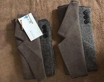 clutch hand bag  men's suit sleeves reuse recycle handmade 100%