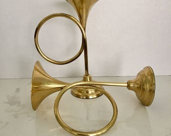 Brass Trumpet Horn Candlesticks Horn Candle Holders Set of Two