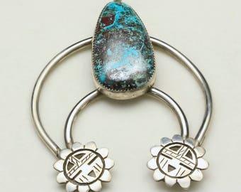 Vintage Sterling Silver Naja Pendant Hopi Sun God Sterling Silver & Turquoise