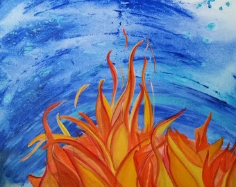 Large Acrylic Wall Painting,Original Canvas Art, Fire and Water, Elements, Home Decor