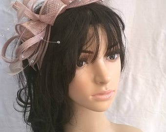 Stunning latte Sinamay and  Feather rosette Fascinator with crystal stamens