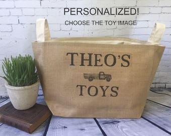 large personalized  lined burlap toy basket , burlap storage tote,  boy or girl toys