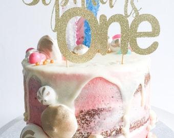One Cake Topper • Birthday Cake Topper • Gold Glitter Topper • Smash Cake Topper • Number Cake Topper