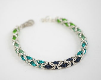 Ombre Sea Nymph Chainmaille Bracelet   |   Sterling, Blue, and Green Ombre