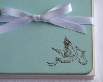 Flat Note Cards / Baby Thank You Cards - Stork - Set of 10