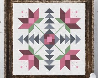 Ione Flower Barn Quilt Square Traditional Cross Stitch Pattern Needlepoint Embroidery Country Farmhouse Print Pink Grey Decor Farm House