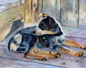 Blue Heeler Puppy Watercolor Painting Original watercolor Pet Portrait Giclee Print Wraps Fine Art Magnet Carol Lytle Free Shipping #99