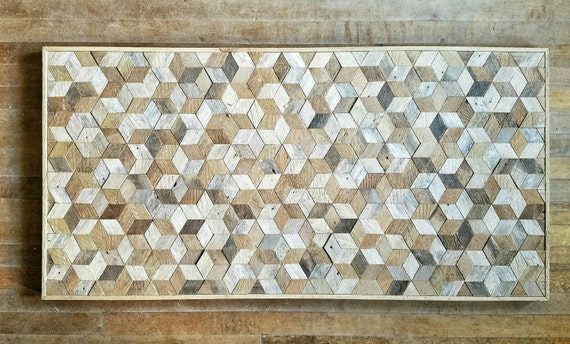 "Reclaimed Wood Wall Art, Wood Wall Decor, Geometric Cube Pattern, 48"" x 24"""