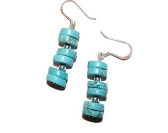 Light Turquoise Heishi Beads Silver Earrings ME-N9W0-JHIL