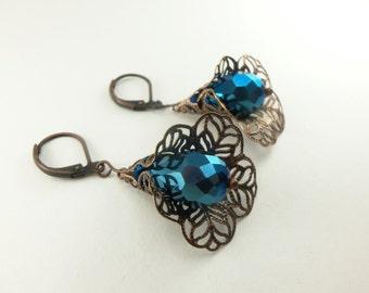 Metallic Blue Earrings Copper Filigree Earrings Dangle Earrings Blue Dangle Earrings Victorian Leverback