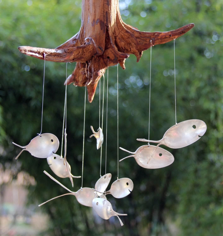 Spoon Fish & Drift Wood Wind Chimes, 10 Fish Windchime Stump, Spoon ...