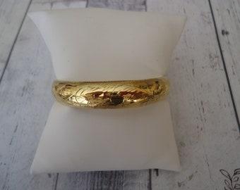 18k Over 925 Sterling Silver Etched Hinged Bangle Bracelet, Estate Find, 14 Grams