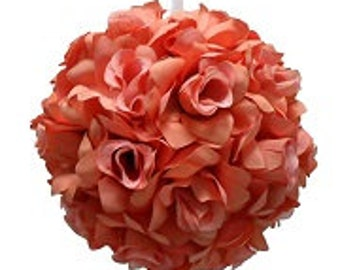 """SIlk Kissing pomander ball large 10"""" in green , coral, pink ,turquoise,ivory, white , yellow, green"""