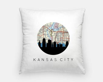 Kansas Pillow | Kansas City Skyline Map Decor | Kansas Missouri pillow | Kansas home decor | throw pillow | city skyline pillow