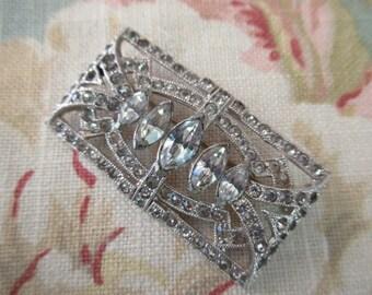 art deco rhinestone pin - silver, marquis, sparkly