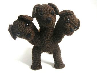 Cerberus/Fluffy the Three-headed Dog Ready-Made Crocheted Figure