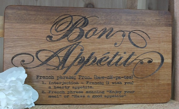 Unique Bon Appetit Cutting Board! Beautiful wooden kitchen decor item. Great housewarming or new homeowner gift.